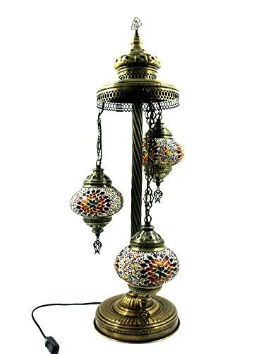 Orientalische Türkische Tiffany Glasmosaik Turkish Asiatisch Handgefertigte Mosaik Glas Boden Lampe Innenleuchte Orientalische Lampe Glas Stehlampe Bodenlampe 3 Lichter Glasgröße 2 (Bunt-Stern) (Asiatische Orientalische Lampe)