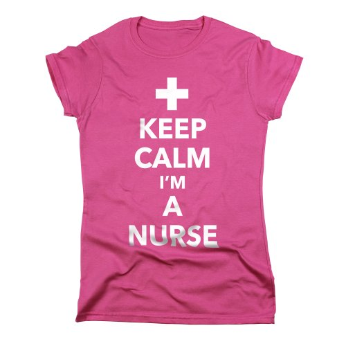 Nutees Keep Calm I'm A Nurse Funny Cool Damen T Shirt - Rosa Medium (Humor T-shirt Medizinische)