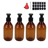 YBCPACK 4PCS Flacons de Lotion Vides en Plastique Ambre de 250 ml Avec 1 Stylo,...