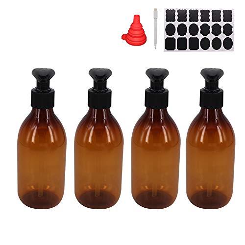 YBCPACK 4 botellas de loción de plástico vacías de 250 ml con 1 bolígrafo, etiquetas y embudo de silicona, dispensador de loción con bomba de bloqueo para champú, loción de masaje, gel