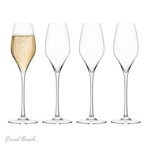 Final Touch PACK OF 4 100% Lead-free Crystal Champagne Sans plomb Flûtes à Champagne Verres Fabriqué avec du DuraSHIELD Titanium renforcé pour une durabilité accrue - Hauteur 27.8 cm 340ml - Set de 4