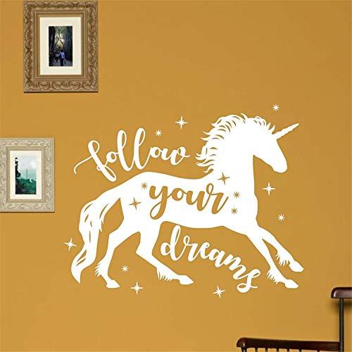 Wandaufkleber Kinderzimmer Einhorn Vinyl Wandtattoos Folgen Sie Ihren Träumen Zitat Wandaufkleber Kinderzimmer Kinderzimmer Dekor Magisch (Magische Zitat Spiegel An Wand Der)