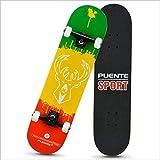 BXQIT Skateboard per Principianti, Skateboard Cuscinetto Silenzioso, Resistente all'Usura Skateboard Anti-Scivolo, High-Elastico Scooter Ragazza della Gioventù,C