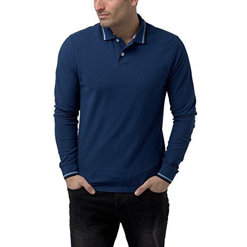 Charles Wilson Langärmliges Kontrastkragen Polohemd (XX-Large, Marineblau)