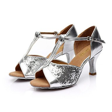 Scarpe da ballo - Disponibile su misura - Donna - Latinoamericano / Salsa - Customized Heel - Satin / Paillettes -Nero / Marrone / Gold