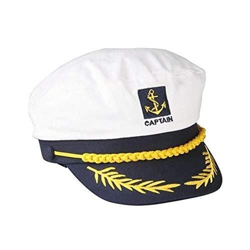 Yililay Gli Uomini del Marinaio Capitano Cappello da Marinaio Cappello Ricamato Cappello Registrabile Navy Capitano Costume White Hat, Gioielli