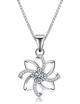 Eynoca Kette Damen 925 Sterling Silber Anhänger mit Würfel-Zirkonia Blumen Design Schmuck Halskette 45 CM Kette