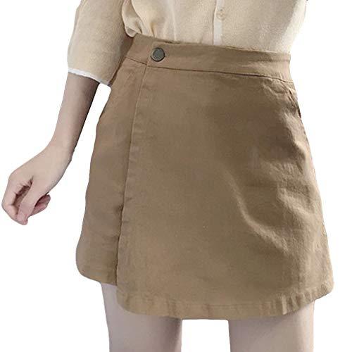 NPRADLA Damenrock Lässig Sommer Freizeit Shorts Hot Pants Knopf Culottes Hohe Taille Reine Farbe Frau Hipster Skinny Shorts(S,Khaki)