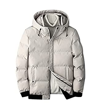 Iuhan Men Thick Coat Paragraph Casual Stand Collar Pockets Decoration Baseball Uniform Long Sleeve O-Neck Jacket Conventional Cuff (White, XXXL)