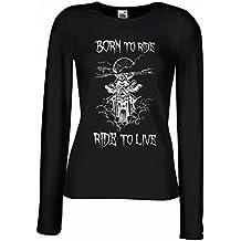 N4690M Mangas largas Camiseta de la Hembra Born To Ride! Motorcycle Clothing
