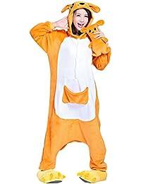 Moollyfox Adulte Unisexe Anime Animal Costume Cosplay Combinaison Pyjama Outfit Nuit Vêtements Onesie Fleece Halloween Costume Soirée de Déguisement