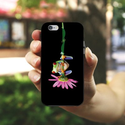 Apple iPhone 5 Housse étui coque protection Grenouille Fleur Fleur Housse en silicone noir / blanc