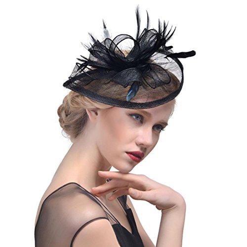 Banbian Fascinator Hut Feder Mesh Netz Schleier Partyhut Blume Derby Hut mit Clip und Haarband für Frauen (Schwarz) (Klassische Derby-hut)