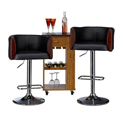 Relaxdays Tabouret de bar CHARLIE noir avec dossier hauteur réglable pivotant 360°C similicuir HxlxP: 103 x 54 x 46 cm, noir