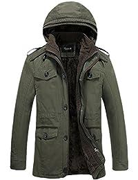 Zicac-manteau à capuche homme manches longues casual coton de melange pour l`hiver