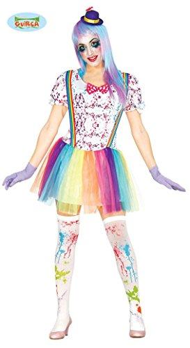Buntes Clown Kostüm für Damen Karneval Einhorn Fasching Party Geburtstag Lustig Gr. M/L, ()