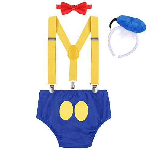 IWEMEK Baby 1. / 2./ 3. Geburtstag Kostüm Jungen Mädchen Donald Duck Karneval Cospaly Outfit Hosenträger Hosen mit Fliege Stirnband 3pcs / 4pcs Bekleidungssets Fotoshooting Cartoon 00 12-18 - Kostüm Für 18 Monate Junge