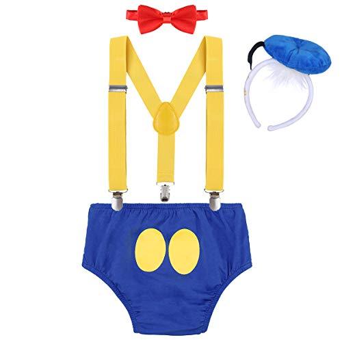 IWEMEK Baby 1. / 2./ 3. Geburtstag Kostüm Jungen Mädchen Donald Duck Karneval Cospaly Outfit Hosenträger Hosen mit Fliege Stirnband 3pcs / 4pcs Bekleidungssets Fotoshooting Cartoon 00 6-12 Monate (Donald Duck Anzug)