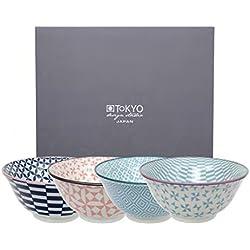 Tokyo Design Studio, Geometric Eclectic, 4 Schalen Set , 4-tlg., Ø 15,0 cm, Porzellan aus Japan