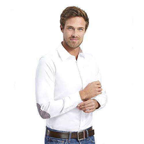 45 Weiße Ellenbogen (ALLBOW Smart Weißes Regular Fit Herren Hemd Ellenbogen Patches in Kariert, 100% Baumwolle, XXL 45/46)