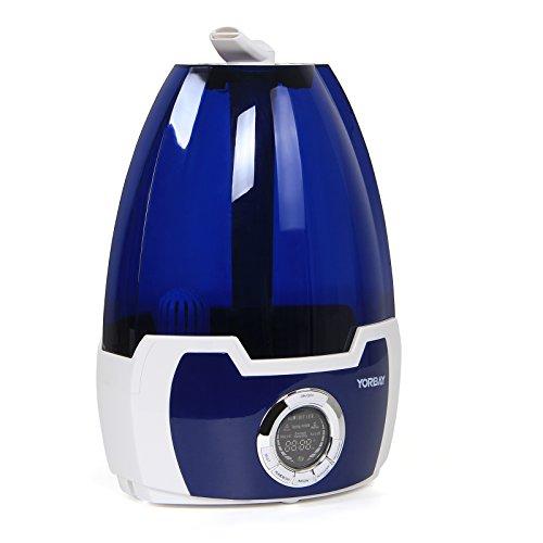 Yorbay K555A Ultraschall Luftbefeuchter mit Fernbedienung GS geprüft (Kühlem Dampf, Filter, LCD Display, Wählschaltersteuerung, Niedrigwasserschutz)