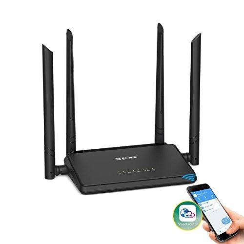 WLAN Router, MECO Wireless WIFI Router (App Steuerung, Repeater Modus, WPS, 2.4GHz, 300Mbit/s) signalverstärker mit 4x5dBi Antennen für Haus und Büro - Schwarz