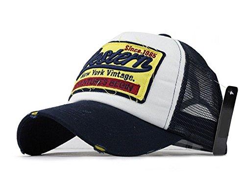 Navy Vintage Cap (Trucker Mesh Baseballcap Western New York Distressed Snapback Vintage used Look Retro Sommer Oldschool Kappe Mütze Cap Schirmmütze Basecap (Navy))
