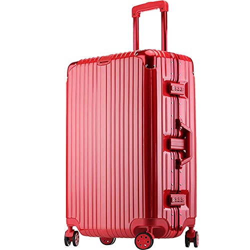 Gli uomini e le donne adulte grande cornice in alluminio valigia rossa trolley valigia