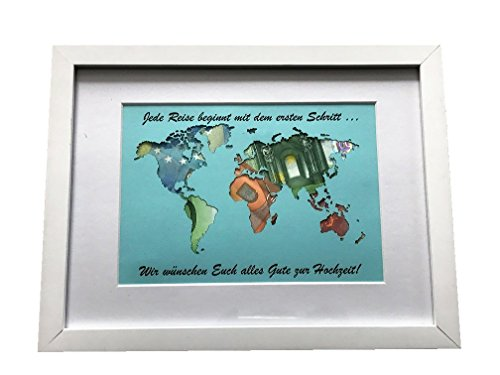 Geldgeschenk beschriftete Weltkarte im Bilderrahmen, Hochzeitsgeschenk, Geburtstag -