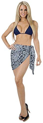 La Leela donne 100% cotone vernice mano involucro geometrico sarong 78x21 pollici blu