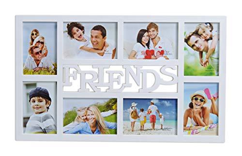 WOMA Bilderrahmen Collage Friends & Love - 8 Fotos á 10x15 cm - Fotorahmen/Fotocollage aus Kunststoff - Grau/Silber (53cm x 32cm) (Grau 8x10 Bilderrahmen)