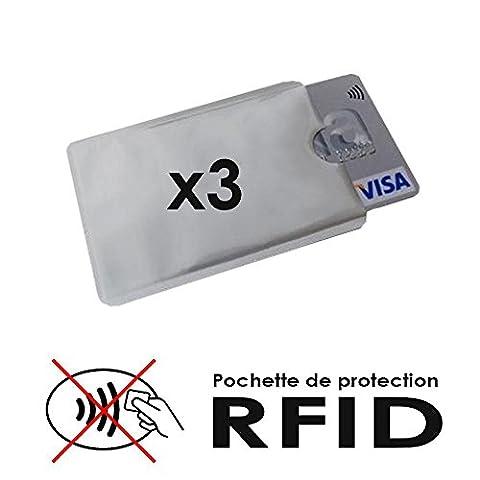 Etui protection CB carte bleu sans contact RFID NFC anti-piratage - Le lot de 3