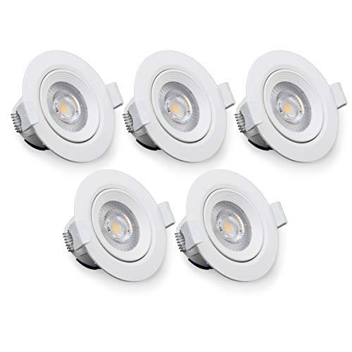 Ojo de buey orientable redondo luz blanco cálido - Pack de 5