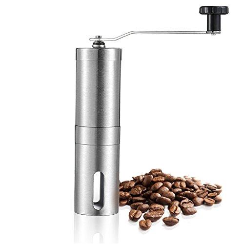 Grsafety Manuelle Kaffeemühle, Edelstahl-Körper-Kaffeebohne-Schleifer Justierbare keramische...