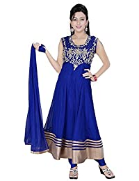 Divinee Blue Color Stone Worked Readymade Anarkali Suit For Women