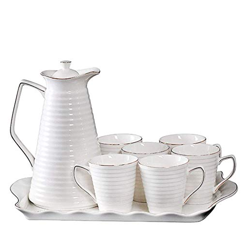 Bbhhyy Keramik Fruchtsaft Milchkessel Kaffee Teetasse, Hostel The Mall Tee-Set, Kaffeetasse Kalter Kessel EIN Ganzes Set, EIN Vintage Tablett (Farbe: Weiß)