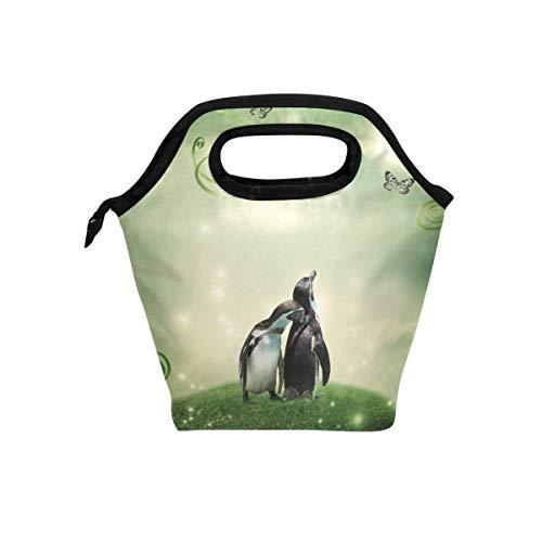 LIANCHENYI Süßes Tier Zwei schöne Pinguine Kühltasche Warm Tasche Lunchbox für Schule Arbeit tragbare Mahlzeit Handtaschen Lebensmittelbehälter Tragetasche für Picknick - Pinguin Lunch-box