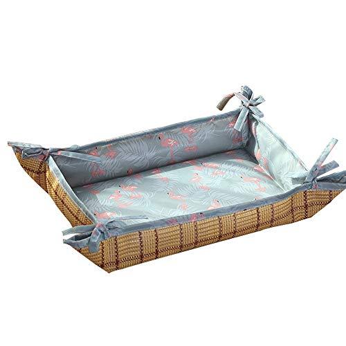 Pet Nest Sommer Bequeme Hundeschlafmatte Doppelnutzung Rattan Matte Kaltbett Katzenbett Sitzkissen Geeignet Für Kleine Mittelgroße Hunde (Color : Blue, Size : 48x40cm) -