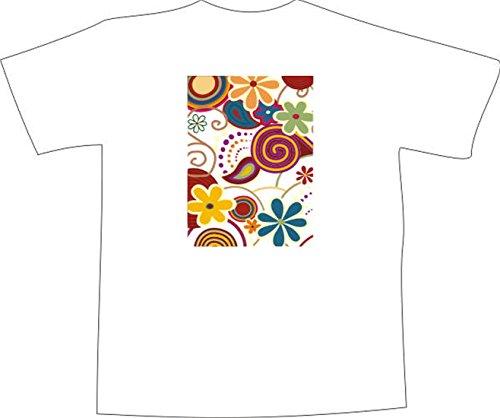 T-Shirt F907 Schönes T-Shirt mit farbigem Brustaufdruck - Mischung Blumen Mehrfarbig