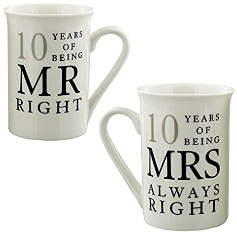 10th Anniversary Gift Set of 2 China Mugs 'Mr Right & Mrs Always (Cina Tazze Set)