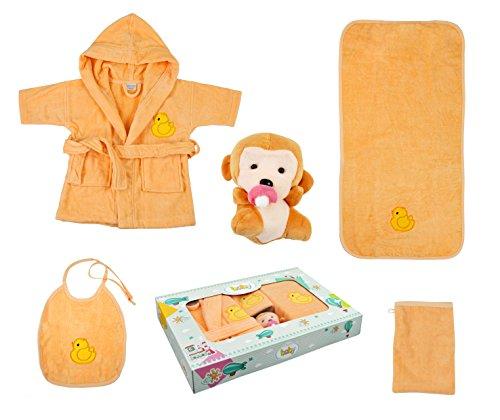 Babyset Kinderset 5 tlg. Bademantel, Badetuch, Waschhandschuh, Lätzchen, Stofftier verschiedene Designs (Ente - apricot)