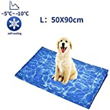 Mingzheng Kühlmatte für Hunde Kühldecke Ungiftig Gel Matte, Druck aktiviert selbstkühlende Decke für Welpe innen&draußen im heißen Sommmer Blau (StormL(50 * 90 cm)