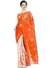 tjsarees Saree (orangewhitedhakai_Multicoloured_Free Size)
