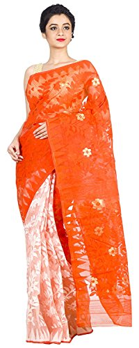 Tjsarees Handloom Muslin Dhakai Jamdani Saree (Orange& White)