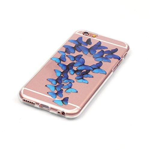 iPhone 7 Hülle,iPhone 7 Case,TOYYM TPU Hülle Schutzhülle Crystal Case Silikon Transparent Hülle Pflaumenblüte Muster Anti-Kratz Zurück Case Cover für iPhone 7 4.7 inch Blaue Butterfly
