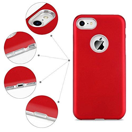 Cover iPhone 7 / iPhone 8 (4.7 Pollici) Spiritsun iPhone 8 Custodia TPU+PC Handy Moda Elegante Case Cover Soft + Hard Silicone Back Cover Protezione Bumper Funzione Shell Morbida Flessible TPU Cover P Rosso
