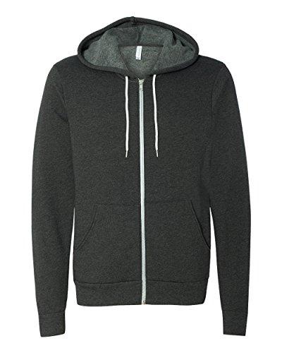 Bella 6856Unisex Polyester Fleece Sweatshirt mit Kapuze und Reißverschluss für Herren, Herren, grau (DK GREY HEATHER) (Herren-kapuzen-zip-sweatshirt Dk)