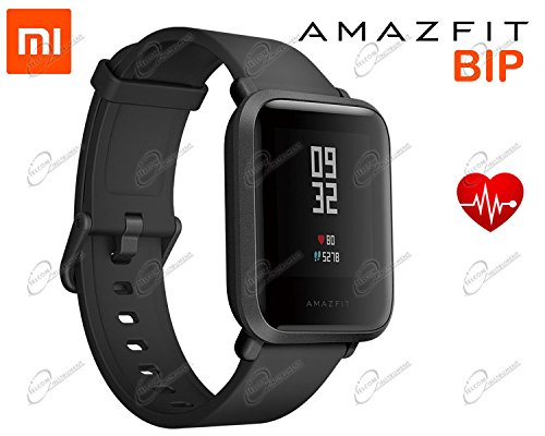 Amazfit Bip Smartwatch Bluetooth Smart Wrist Watch with GPS Real Time Heart Rate Monitor Waterproof Sport Fitness Tracker Support iOS and Android for Kids Men Women/Onyx Black Global Version