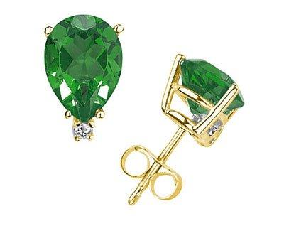 6X4mm Pear Emerald and Diamond Stud Earrings in 14K Yellow Gold