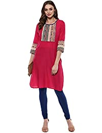 Rama Printed Pink Cotton Straight Kurta